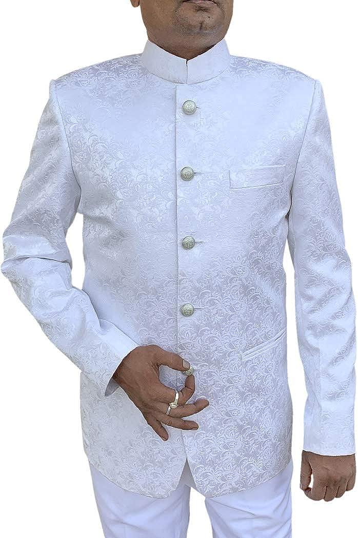 INMONARCH Mens White Indian Nehru Collar Designer Suit 5 Button NS1004