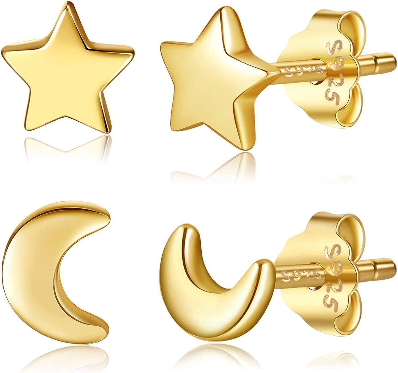 Regular store Bargain sale 2 Pairs Moon Star Earrings 925 Silver Sterling Crescent Ear