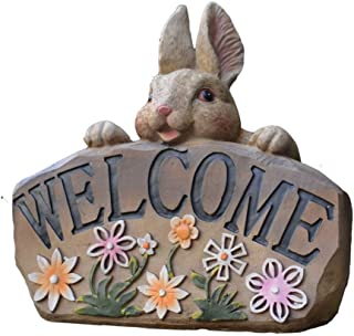 HIZLJJ Bunny Bunch Rabbits Outdoor Garden Statue Welcome Sign Garden Welcome Statue Sign Bunny Decor Outdoor Yard Decorations Rabbit Figurines for Lawn Animal Decorative Ornaments Sculptures