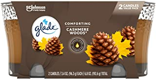Glade Jar Candle Air Freshener, Cashmere Woods, 6.8 oz, 2ct