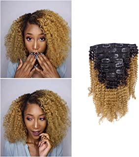 Loxxy Kinky Curly Clip In Hair 4B 4C Natural Hair Clip Ins Afro Kinky Curly Clip In Hair Extensions Virgin Clip In Hair Extensions Human Hair For Black Women Big Volume Thick Kinky Hair # 1b/27 16Inch
