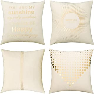 MIULEE Pack of 4 Decorative Velvet Pillow Covers Soft Square Throw Pillow Covers Soild Cushion Covers White Pillow Cases with Pattern for Sofa Bedroom Car 18x18 Inch