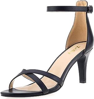 صنادل ZriEy نسائية ذات كعب عالٍ مع شريط كاحل حذاء 11 سم