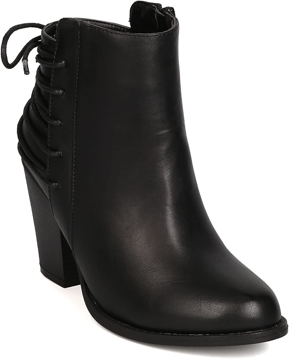 Women Leatherette Back Lace Up Chunky Heel Bootie FG41 - Black