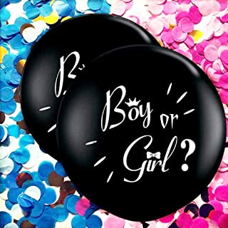 36 Inch Baby Gender Reveal Balloon, 2 Pack Jumbo Black Latex Balloon with Pink and Blue Confetti Packs for Boy or Girl, Gender Reveal Party Supplies Decoration Kit for Baby Shower