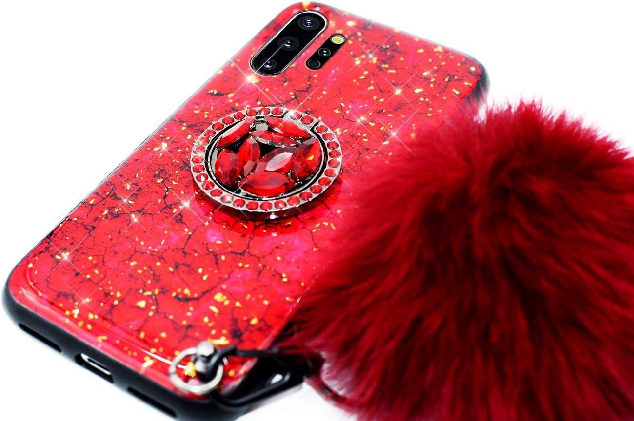 Funda Compatible con Galaxy Note 10 Pro//Note 10 Plus,Ni/ñas Mujeres Marmol Silicona Bumper TPU Duro H/íbrido Carcasa Lujo Purpurina Bling Glitter Diamantes Soporte Anillo Bola Pelo Anti-ca/ída Case,Verde