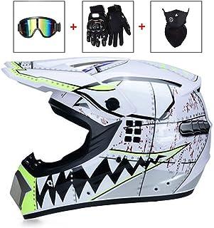 Adult Cross Helmet with Goggles Mask Gloves Matte Black Red LEENY Professional Motocross Helmet Motorcycle Sport Off-Road DH Enduro Helmet ATV MTB MX Quad Motorbike Crash Helmet for Men Women