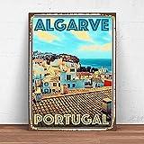 Dafony Cartel de metal de Algarve Portugal, decoración de pared, vintage, para colgar en la terraza, bar, café, regalo