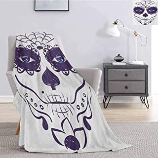 Luoiaax Day of The Dead Comfortable Large Blanket Dia de Los Muertos Sugar Skull Girl Face with Mask Make up Print Microfiber Blanket Bed Sofa or Travel W70 x L70 Inch Black White and Blue