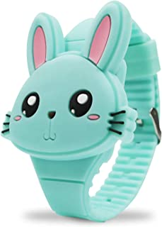 Girls Watches for Kids, Cute Pink Rabbit Cartoon Shape Clamshell Design Digital Led Toys Bunny Watch Birthday Gift for Lit...