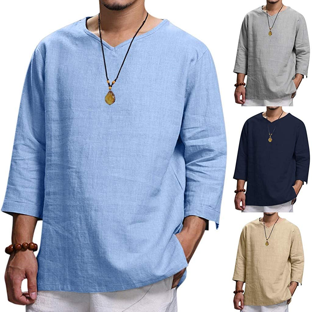 Huangse Men's Casual Long Sleeve V Neck Shirts Classic Cut Athletic Tops Loose Solid Color Linen Shirts Blouse