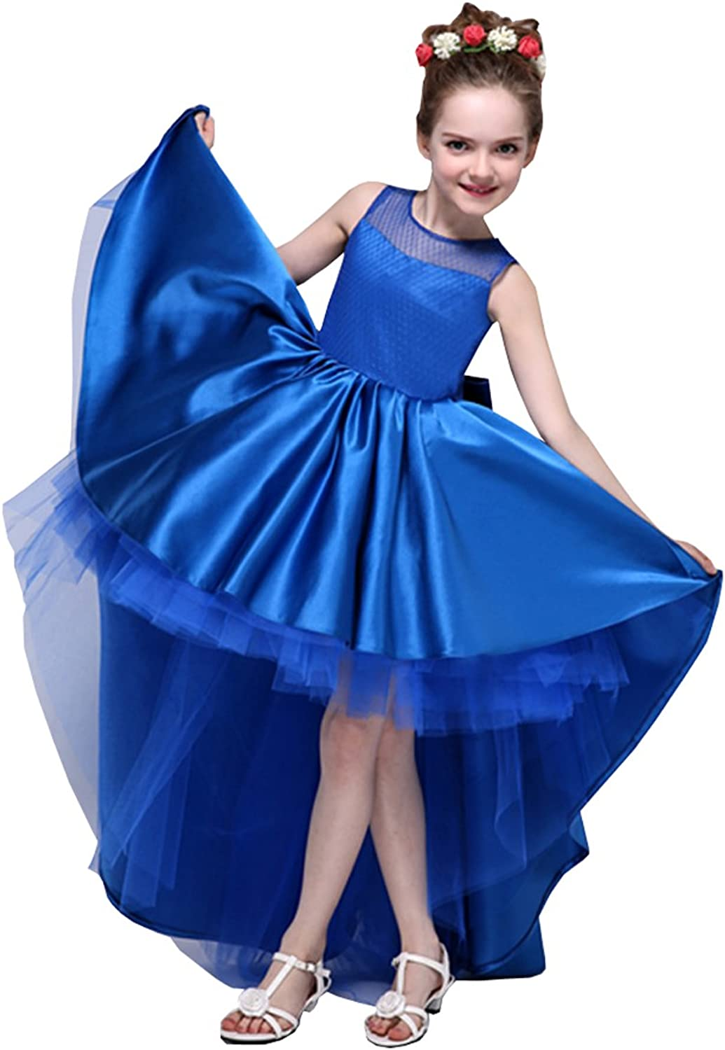 Girls Pageant Dresses Hi Lo Jewel Lace-up Satin Cupcakge Special Occasion Dresses Teens 2021