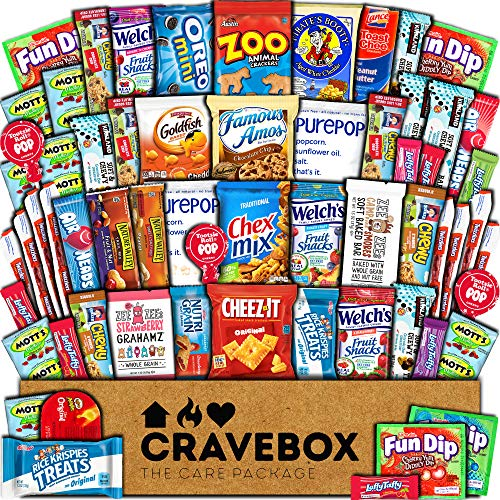 CraveBox Care Package (60 Count) Snacks Food Cookies Chocolate Bar Chips Candy Ultimate Variety Gift Box Pack Assortment Basket Bundle Mix Bulk Sampler Treat College Students Final Exam Office Spring