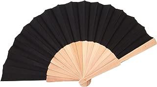 Libetui Handfächer mit Holzgriff Fächer Sommer Feste Party Hochzeit Hand Fan Schwarz