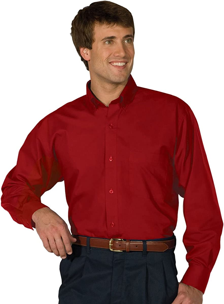 Edwards Garment Men's Big And Tall Easy Care Poplin Long Sleeve Shirt_RED_2XLT