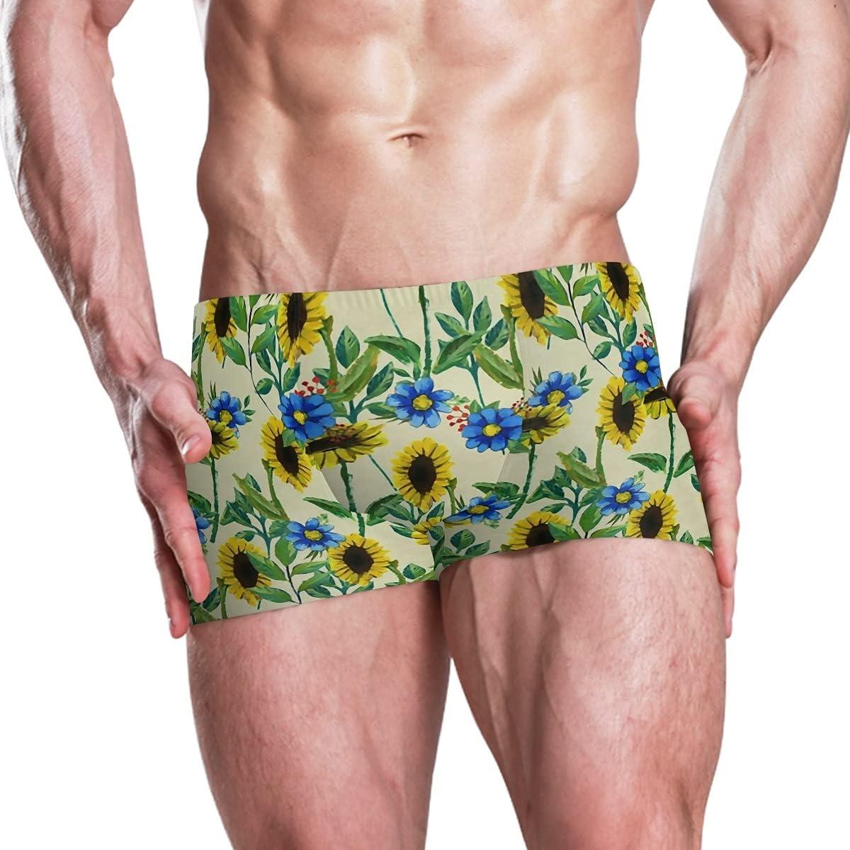 Boxer Swim Trunks for Men Sunflowers Blue Floral Swimwear Special online shop sale item Bath S