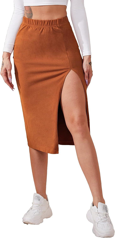 LYANER Women's Casual Elastic Waist Front Split Slit Hem Midi Skirt