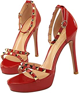 GLJJQMY High Heels Wedding Party Shoes Fashion Banquet Women's Shoes Fashion Pointed Ankle Straps Rivets Court Shoes 11.5 cm Women's Sandals (Color : Red, Size : 37)