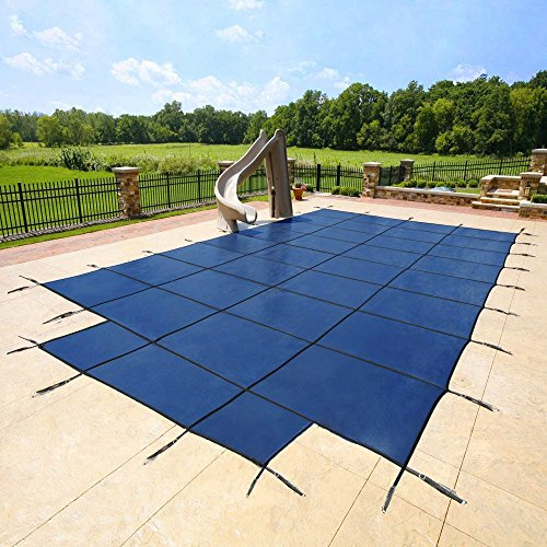 of mesh pool covers 16'x32' Blue Mesh - CES Rectangle Inground Safety Pool Cover - 15 Year Warranty - 16 ft x 32 ft In Ground Winter Cover with 4'x8' Center End Steps