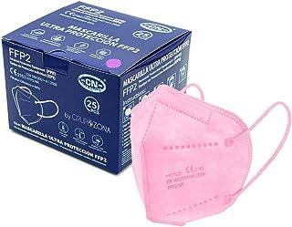 Caja 25 Mascarillas FFP2 color Rosa, homologadas CE 2163 EN 149:2001+A1:2009, filtrado de 5 capas, color interior rosa tam...
