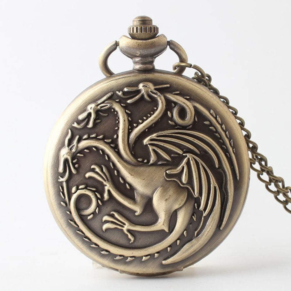 STEDMNY Reloj de Bolsillo Vintage Steampunk Relojes de Bolsillo de Cuarzo Juego de Tronos Dragón y Sangre Hombres Collar de Mujer Colgante de Cadena Reloj Regalos