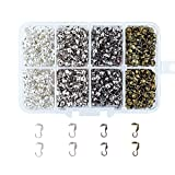 Pandahall 1Box/1000pcs Iron Bead Tips Knot Cover Clam Shell End Bead Terminators Stringing Crimp Cap Fold Over 1.35x0.1 Inch 4 Color with a Container