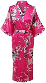 Women Print Kimono Bathrobe Gown Light Purple Long Bride Bridesmaid Wedding Robe Satin Sleepwear