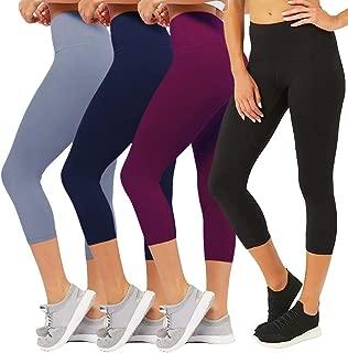 CAMPSNAIL 2-Pack Plus Sizes Capri Leggings Super Soft Calf Length Slim Stretchy Classic Leggings Sport Yoga Skinny Pants for Women