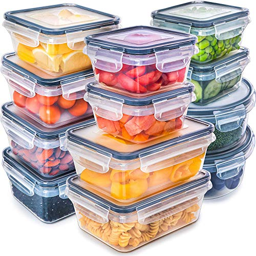 Fullstar 12 Pack Food Storage Containers with Lids  Black Plastic Food Containers with Lids  Plastic Containers with Lids  Airtight Leak Proof Easy Snap Lock and BPAFree Plastic Container Set