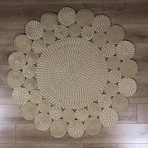 LDDZAU Alfombras, alfombras de Yute Natural, Fibras Naturales nómadas de sisal Redondas, alfombras de Yute Natural Tejidas a Mano, Sala B