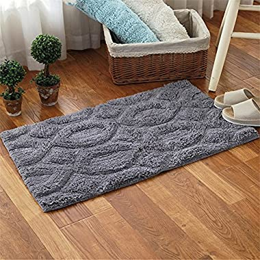 Simple solid color cotton hexagon pattern decorative mats bathroom waterproof anti-skid foot pad bedroom living room door thick mats 19 x 31 inch approx