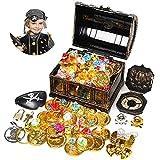 Ulikey Monedas de Oro y Gemas Piratas, Tesoros Pirata, Juguete de Pirata...