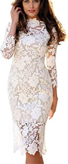 Tianjinrouyi Dresses Women's Backless Lace Deep V-Neck Long Dresshort Sleeve Vintage Gown Evening Maxi Dress
