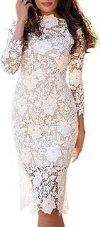 Routinfly Damen Casual Kleid Sexy Spitze figurbetontes Bleistift Kleid Cocktail Abendkleid Kleid Einfarbiges Kleid Abendkl...