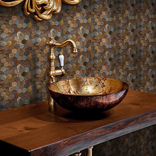 Alwayspon Adhesivo adhesivo para decoración del hogar, despegue y pegue las salpicaduras autoadhesivas, para sala de estar, cocina, baño, decoración de baño, 25 piezas de óxido hexagonal mosaico
