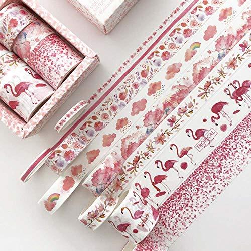 JZLMF 8 rollos de cinta de papel, cinta decorativa con varios patrones, cinta decorativa para el diario de álbumes de recortes, color rojo