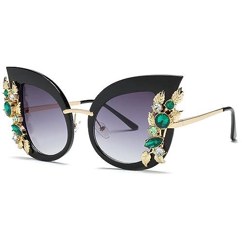 0a29d6cb93 Bettal Rhinestone Studded Cat Eye Rectangular Designer Fashion Sunglasses  for Women (Grey)