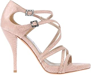 Caged Python Leather Heels Open Toe Sandals