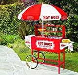 """53"""" COMMERCIAL HOT DOG CART , great item for ball games, fairs, pep rallies and other special events. Cooks up to 8 hot dogs on the heated roller and holds up to three packages of hot dogs, Five separate, covered compartments hold buns and condiments and keeps hot dogs warmHD1 Weight: 98 lbs. Product Dimension: L 53 x W 17 x H 49 Voltage: 120V, 1150 Watts, 60 Hz -HD1"""