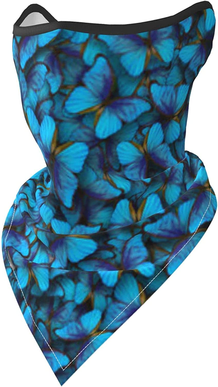 Blue Butterflies Breathable Bandana Face Mask Neck Gaiter Windproof Sports Mask Scarf Headwear for Men Women Outdoor Hiking Cycling Running Motorcycling