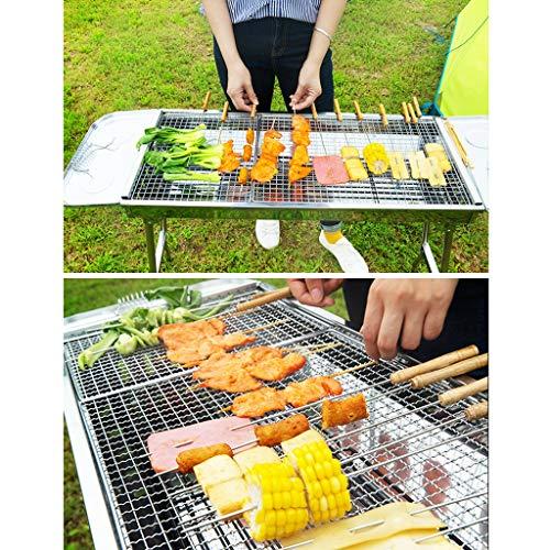 61TT9QiXukL - Barbecue Holzkohlegrill Edelstahlgrill Heimgrill Grillzubehör Für Den Außenbereich Geeignet Für 5-8 Personen (Color : Silver, Size : 73 * 32.5 * 70cm)