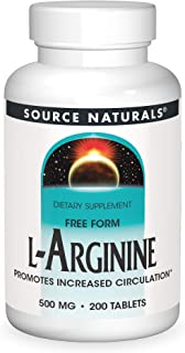 Source Naturals L-Arginine 500 mg Free Form and Promotes Increased Circulation - Supports Cardiovascular Health - 200 Tablets