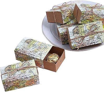 TOOGOO 50 Pcs Mapa De Todo El Mundo?Cajas De Favor Caja del Favor ...
