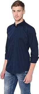 Garmend Mens Pure Cotton Casual Shirt Men Full Sleeves Fashion Multi Color (Navy Blue, XX-Large)