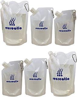 Recreatio | Set de bolsas para beber XXL [3X 350ML, 3X 500ML, 3X 1L] | Bolsas plegables a prueba de fugas sin BPA | Bolsa de agua plegable / botella de agua
