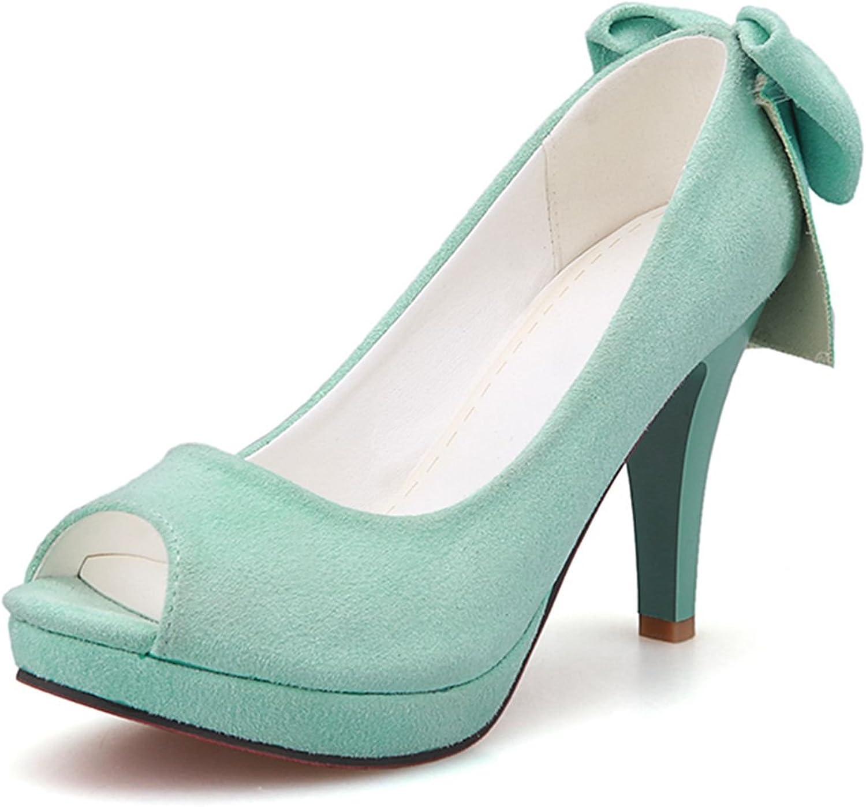 DoraTasia Suede Peep Toe Bowknot Decoration Thick Heel Slip on Women's Platform Pumps shoes