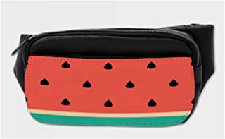Ambesonne Fruit Bumbag, Minimalistic Watermelon Art, Fanny Pack Hip Waist Bag