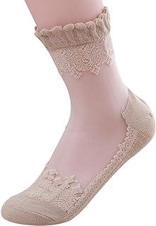 B-PING 靴下 レディース 透明なレース ソックス 爽やかな かわいいデザイン 夏用 おしゃれ 極薄 弾性 綿 透明 フリーサイズ 総レース 1個セット 3個セット