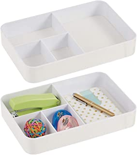 mDesign Plastic Divided Drawer Organizer Tray for Home Office, Desk Drawer, Shelf, Closet - Holds Highlighters, Pens, Scissors, Adhesive Tape, Paper Clips, Note Pads - 4 Sections, 2 Pack - White photo