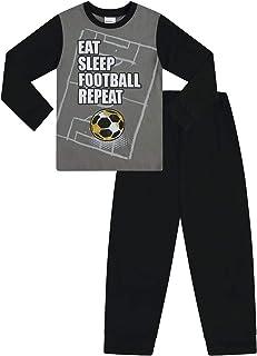 Pijama Largo para ni/ños con Texto en ingl/és Eat Sleep Football Repeat Color Gris